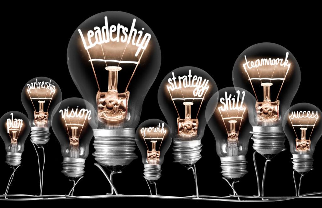 Leadership Light Bulbs Concept